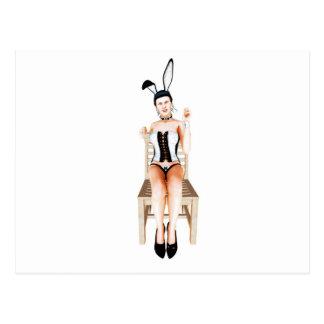 Kanin på en stol vykort
