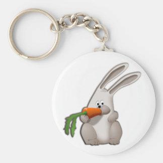 Kanin som äter en morot rund nyckelring
