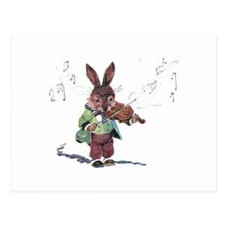 Kanin som leker fiolen vykort