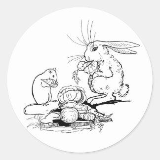 Kaninen och musen äter Veggies Runt Klistermärke