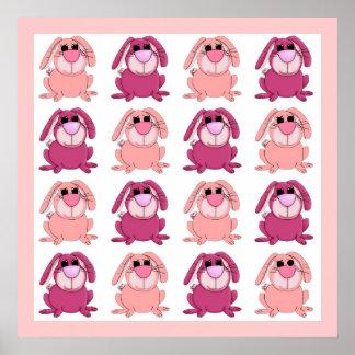 Kaniner för kanin för affischbarnflickor rosa poster