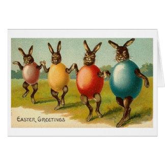 Kaniner i äggskal! Vintagepåskkort Hälsningskort