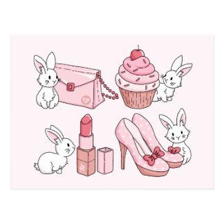 Kaniner med rosasaker vykort