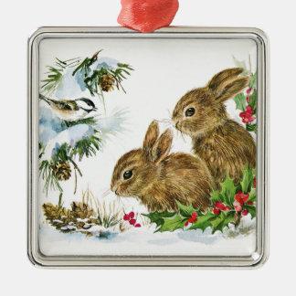Kaniner och fågel i snö julgransprydnad metall