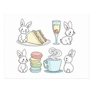 Kaniner på eftermiddagTea Vykort