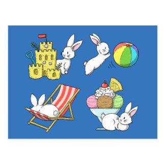 Kaniner på stranden vykort
