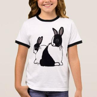 Kaninflicka för svart & för vit holländsk T-tröja Tee Shirt
