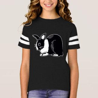 Kaninflicka för svart vit holländsk skjorta för tee shirt