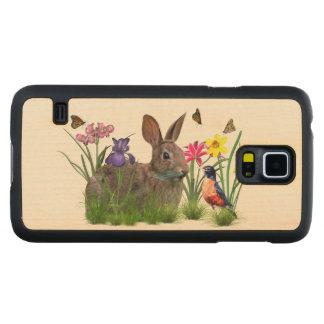 Kaninkanin, Robin och blommor, anpassade Maple Galaxy S5 Slim Case