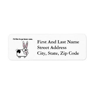 Kaninkaninkon önskar att gå hem returadress etikett