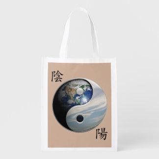 Kanji med jord & himmel Yin Yang Återanvändbar Påse