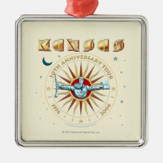 KANSAS - 30th årsdag Silverfärgad Fyrkantigt Julgransprydnad
