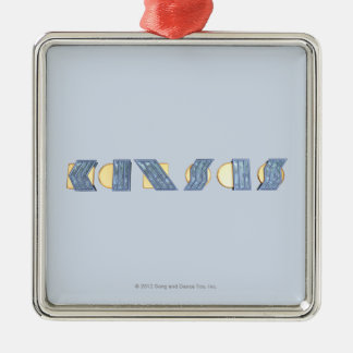 KANSAS (blått och guld) Silverfärgad Fyrkantigt Julgransprydnad