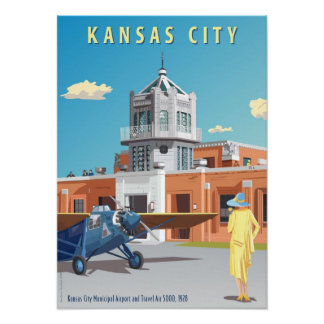Kansas City flygplatsart déco Poster