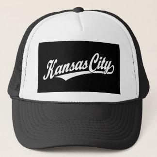 Kansas City skrivar logotypen i vit Truckerkeps