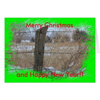 Kansas fodrar det snöig staket julkortet hälsningskort