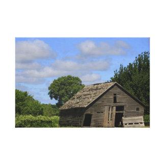 Kansas landladugård med blå himmelkanfas canvastryck