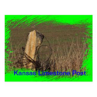 Kansas Limestone Post sköt closeupen på en VYKORT! Vykort