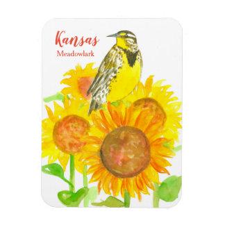 Kansas Meadowlark vattenfärgsolrosor Magnet