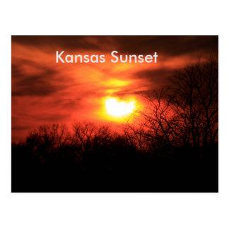 Kansas orange solnedgångvykort vykort