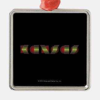 KANSAS (peka av vet återgånga färger), Silverfärgad Fyrkantigt Julgransprydnad