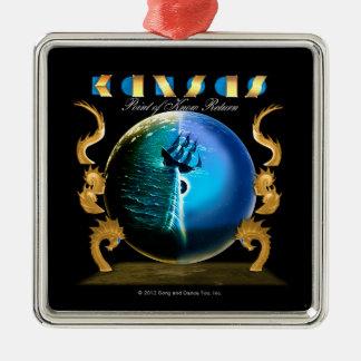 KANSAS - peka av vet retur (2007) Silverfärgad Fyrkantigt Julgransprydnad
