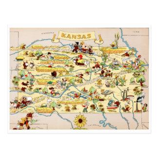 Kansas rolig vintagekarta vykort