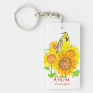 Kansas solrosor westerna Meadowlark Nyckelring