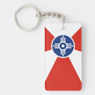 Kansas statligt Amerika för Wichita stadsflagga la Nyckelring