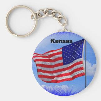 Kansas US flagganyckelring Rund Nyckelring
