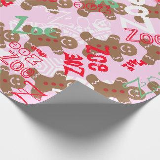 Känt ändra för rosa sjal för julpepparkakagåva presentpapper
