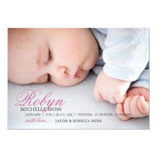 Känt foto för fotofödelsemeddelande | 12,7 x 17,8 cm inbjudningskort