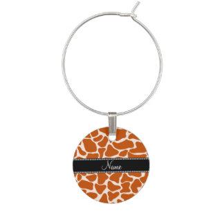 Känt orange giraffmönster för personlig berlock vinglas