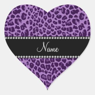 Känt purpurfärgat leopardmönster för personlig hjärtklistermärken