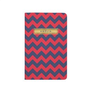 Känt röd för personlig & för blåttsparreFaux guld Anteckningsbok