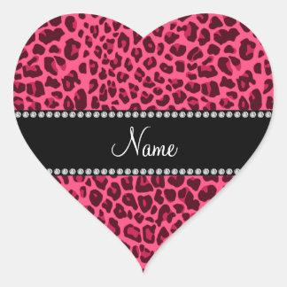 Känt rosa leopardmönster för personlig hjärtformade klistermärken