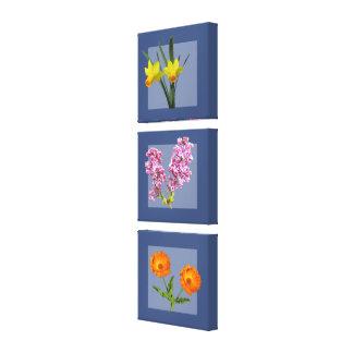 Kanvastryck - botanisk Triptych på blått