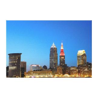 Kanvastryck för Cleveland Ohio vin- och guldstad