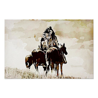 Kanvastryck för vintageCheyenne krigare Poster