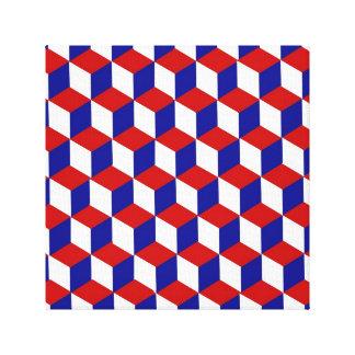 Kanvastryck - kvarterillusion i rött, vit, blått