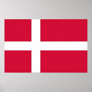 Kanvastryck med flagga av Danmark Poster