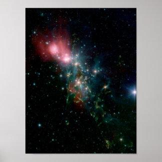 Kaotisk födelse för NGC 1333 av stjärnor Poster