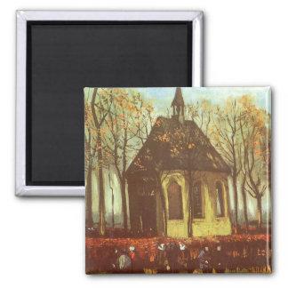Kapell på Nuenen, Churchgoers av Vincent Van Gogh Magnet