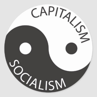 Kapitalism Socialism; Yin Yang Runt Klistermärke