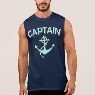 Kaptenen av fartyget med ankrar t-shirts utan ärmar
