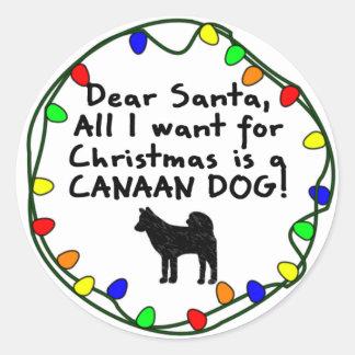 Kär Santa Kanaan hund Runt Klistermärke