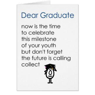 Kär student - en rolig studentendikt - blått/flick hälsningskort