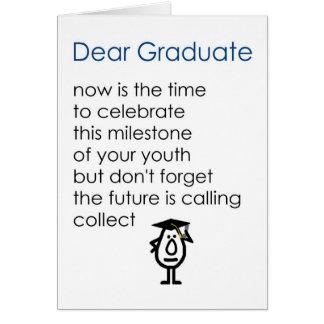 Kär student - en rolig studentendikt blått pojken hälsnings kort