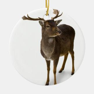 Kära Hjort! Rund Julgransprydnad I Keramik