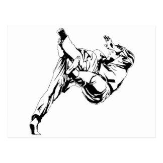 Karate och en judo. Tekniker av kast Vykort